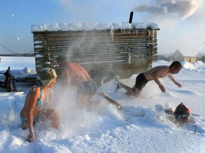 Ruska sauna - iz saune pravo u sneg